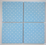 4 Ceramic Coasters in Cath Kidston Mini Dot Blue